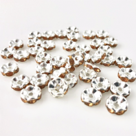 50 Rhinestone Rondelle 6mm spacer beads Topaz